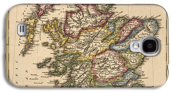 Map Drawings Galaxy S4 Cases - Antique Map of Scotland by Fielding Lucas - circa 1817 Galaxy S4 Case by Blue Monocle