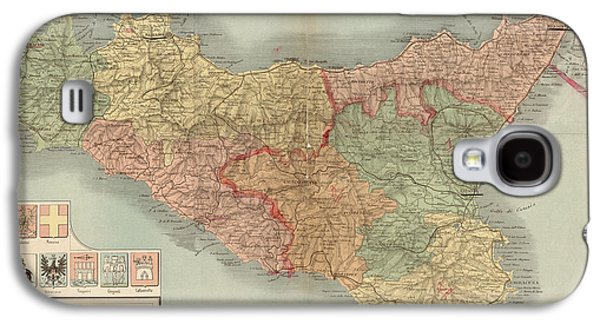 Map Drawings Galaxy S4 Cases - Antique Map of Sicily Italy by Antonio Vallardi - 1900 Galaxy S4 Case by Blue Monocle