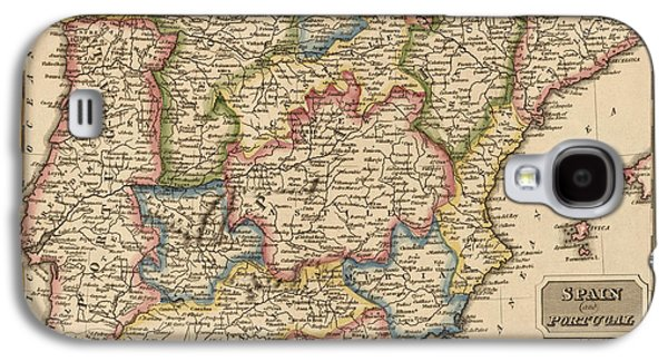 Portugal Galaxy S4 Cases - Antique Map of Spain and Portugal by Fielding Lucas - circa 1817 Galaxy S4 Case by Blue Monocle
