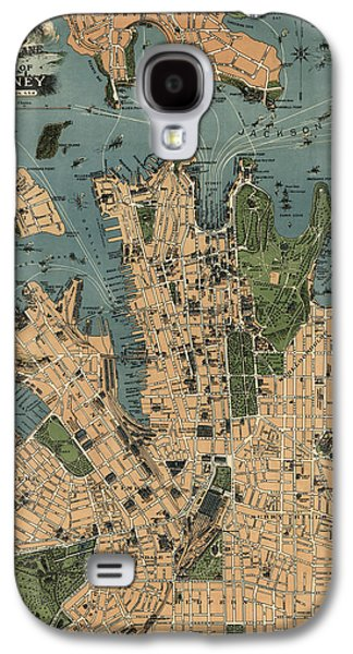 Australia Drawings Galaxy S4 Cases - Antique Map of Sydney Australia - 1922 Galaxy S4 Case by Blue Monocle