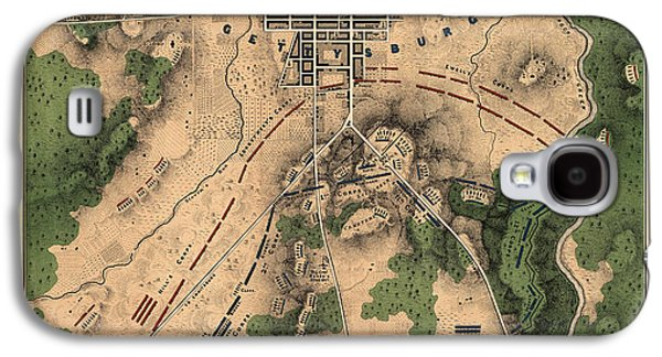 Antique Map Of The Battle Of Gettysburg By William H. Willcox - 1863 Galaxy S4 Case by Blue Monocle