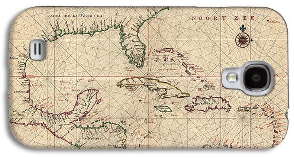Navigation Galaxy S4 Cases - Antique Map of the Caribbean and Central America by Joan Vinckeboons - circa 1639 Galaxy S4 Case by Blue Monocle