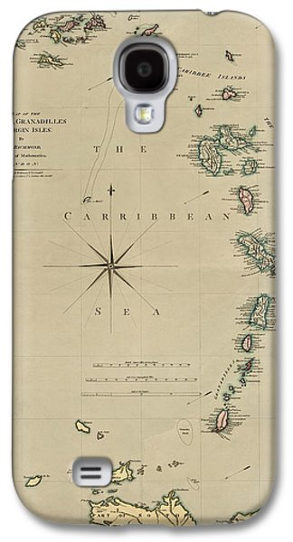 Saints Drawings Galaxy S4 Cases - Antique Map of the Caribbean - Lesser Antilles - by Mathew Richmond - 1789 Galaxy S4 Case by Blue Monocle