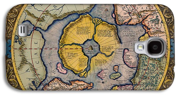 Pole Drawings Galaxy S4 Cases - Antique Map of the North Pole 1623 Galaxy S4 Case by Mountain Dreams