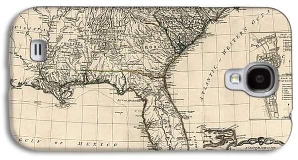 North Drawings Galaxy S4 Cases - Antique Map of the Southeastern United States by Bernard Romans - 1776 Galaxy S4 Case by Blue Monocle