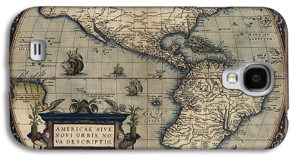 Westerns Drawings Galaxy S4 Cases - Antique Map of the Western Hemisphere by Abraham Ortelius - 1570 Galaxy S4 Case by Blue Monocle