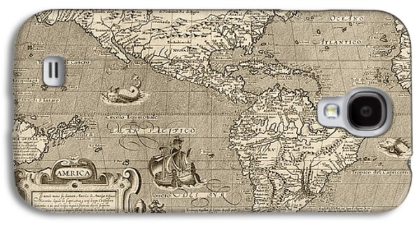 Westerns Drawings Galaxy S4 Cases - Antique Map of the Western Hemisphere by Arnoldo di Arnoldi - circa 1600 Galaxy S4 Case by Blue Monocle