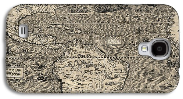 North Drawings Galaxy S4 Cases - Antique Map of the Western Hemisphere by Diego Gutierrez - 1562 Galaxy S4 Case by Blue Monocle