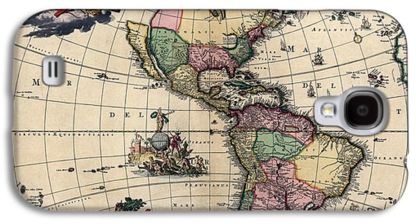 Westerns Drawings Galaxy S4 Cases - Antique Map of the Western Hemisphere by Gerard van Keulen - circa 1710 Galaxy S4 Case by Blue Monocle