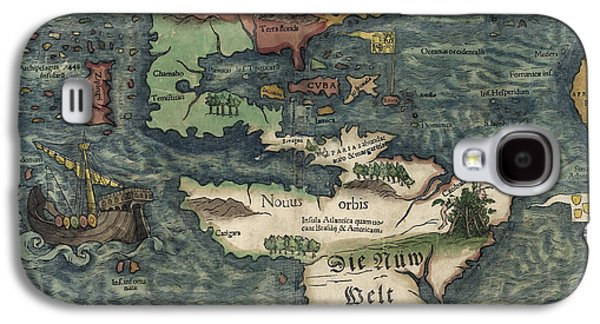 Westerns Drawings Galaxy S4 Cases - Antique Map of the Western Hemisphere by Sebastian Munster - circa 1550 Galaxy S4 Case by Blue Monocle