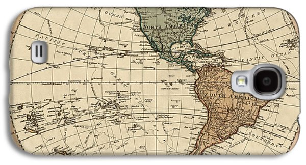 Westerns Drawings Galaxy S4 Cases - Antique Map of the Western Hemisphere by William Faden - 1786 Galaxy S4 Case by Blue Monocle