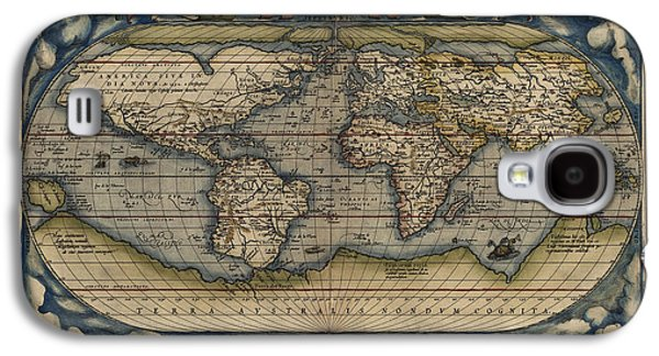 Map Drawings Galaxy S4 Cases - Antique Map of the World by Abraham Ortelius - 1570 Galaxy S4 Case by Blue Monocle