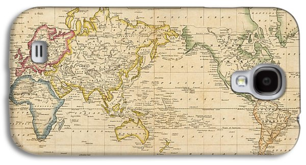 Map Drawings Galaxy S4 Cases - Antique Map of the World by Fielding Lucas - circa 1817 Galaxy S4 Case by Blue Monocle