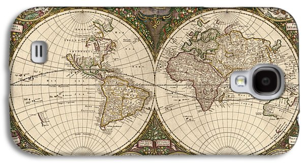 Map Drawings Galaxy S4 Cases - Antique Map of the World by Frederik de Wit - 1660 Galaxy S4 Case by Blue Monocle