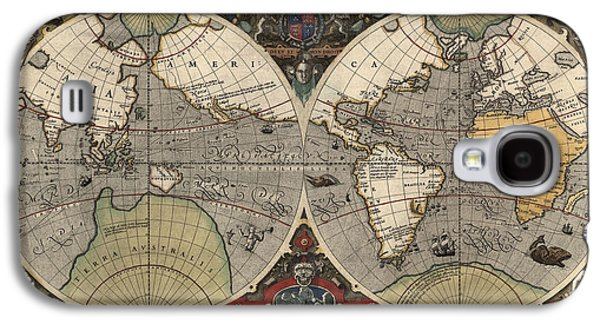 Map Drawings Galaxy S4 Cases - Antique Map of the World by Jodocus Hondius - circa 1565 Galaxy S4 Case by Blue Monocle