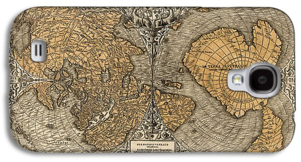 Map Drawings Galaxy S4 Cases - Antique Map of the World by Oronce Fine - 1531 Galaxy S4 Case by Blue Monocle