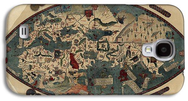 Map Drawings Galaxy S4 Cases - Antique Map of the World by Paolo del Pozzo Toscanelli - circa 1450 Galaxy S4 Case by Blue Monocle