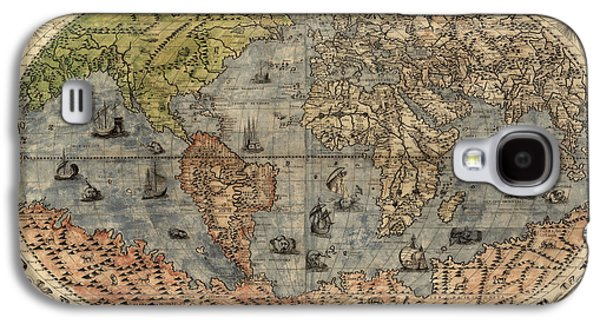 Map Drawings Galaxy S4 Cases - Antique Map of the World by Paolo Forlani - 1565 Galaxy S4 Case by Blue Monocle