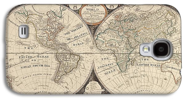 Map Drawings Galaxy S4 Cases - Antique Map of the World by Thomas Kitchen - 1799 Galaxy S4 Case by Blue Monocle