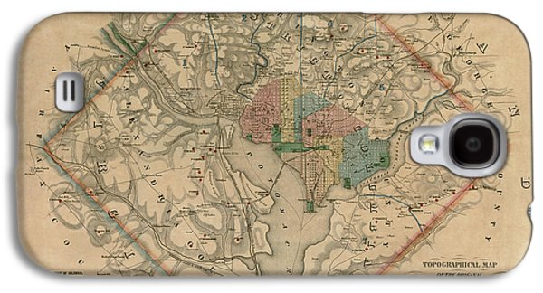 Antique Map Of Washington Dc By Colton And Co - 1862 Galaxy S4 Case by Blue Monocle