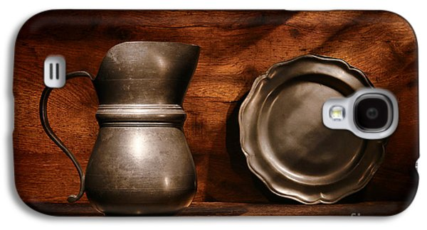 Old Pitcher Galaxy S4 Cases - Antique Pewter Pitcher and Plate Galaxy S4 Case by Olivier Le Queinec