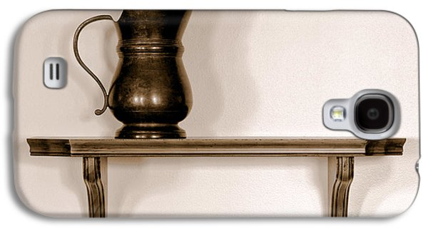 Old Pitcher Galaxy S4 Cases - Antique Pewter Pitcher on Old Wood Shelf Galaxy S4 Case by Olivier Le Queinec