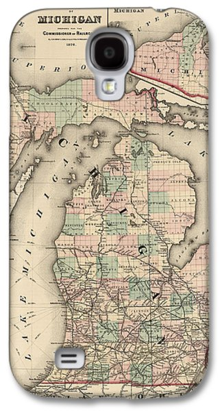 Michigan Galaxy S4 Cases - Antique Railroad Map of Michigan by Colton and Co. - 1876 Galaxy S4 Case by Blue Monocle