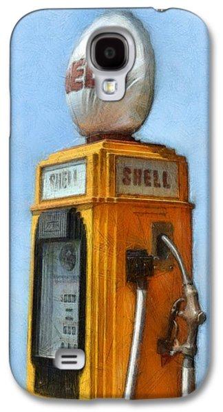 Nostalgia Digital Art Galaxy S4 Cases - Antique Shell Gas Pump Galaxy S4 Case by Michelle Calkins