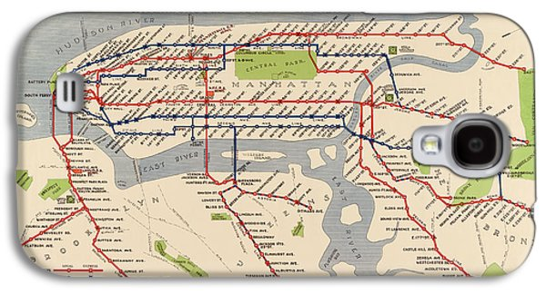 Cities Drawings Galaxy S4 Cases - Antique Subway Map of New York City - 1924 Galaxy S4 Case by Blue Monocle
