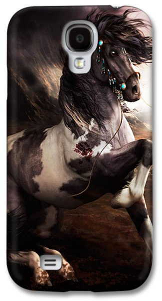 Horse Digital Galaxy S4 Cases - Apache Blue Galaxy S4 Case by Shanina Conway