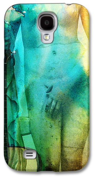 Nudes Mixed Media Galaxy S4 Cases - Aphrodites First Love - Guitar Art By Sharon Cummings Galaxy S4 Case by Sharon Cummings
