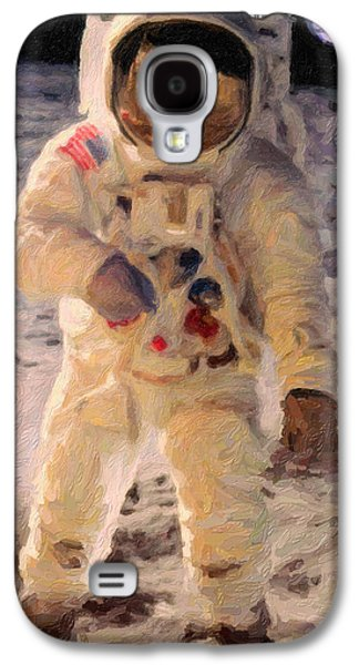 Fireworks Paintings Galaxy S4 Cases - Apollo 11 Astronaut Painting Galaxy S4 Case by Celestial Images