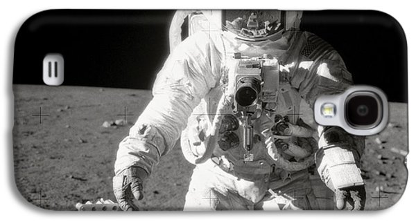 Apollo 12 Moonwalk - 1969 Galaxy S4 Case by World Art Prints And Designs
