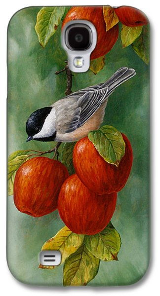 Fruit Tree Galaxy S4 Cases - Apple Chickadee iPhone5 Case V1 Galaxy S4 Case by Crista Forest