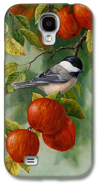 Fruit Tree Galaxy S4 Cases - Apple Chickadee iPhone5 Case V2 Galaxy S4 Case by Crista Forest
