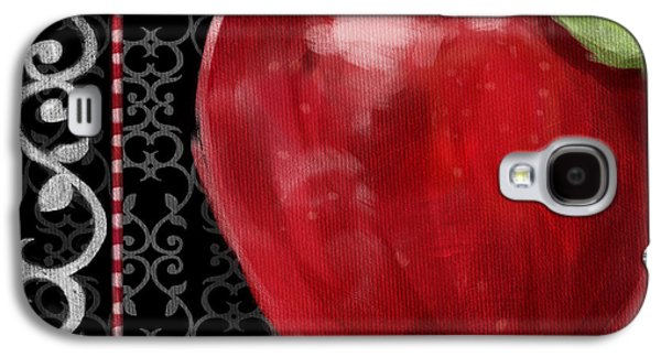 Food And Beverage Mixed Media Galaxy S4 Cases - Apple on Black and White Galaxy S4 Case by Shari Warren