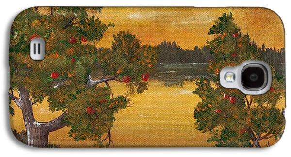 Surreal Landscape Drawings Galaxy S4 Cases - Apple Sunset Galaxy S4 Case by Anastasiya Malakhova
