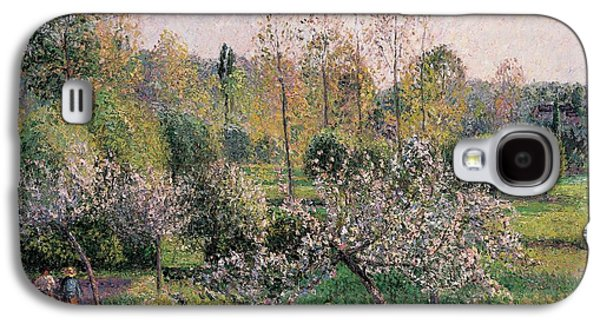 Fruit Tree Galaxy S4 Cases - Apple Trees in Blossom Galaxy S4 Case by Camille Pissarro