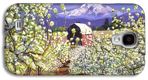 Pathway Paintings Galaxy S4 Cases - Appleblossoms Mount Hood Galaxy S4 Case by David Lloyd Glover