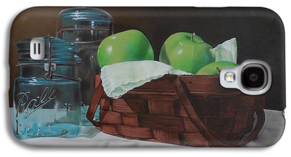 Basket Ball Paintings Galaxy S4 Cases - Apples and Mason Jars Galaxy S4 Case by Tracy Meola