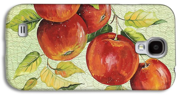 Digital Watercolor Paintings Galaxy S4 Cases - Apples on Watercolor Galaxy S4 Case by Jean Plout