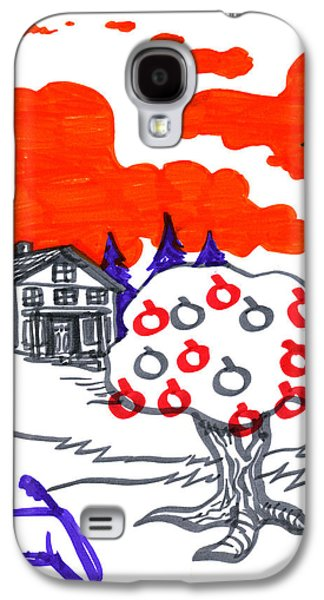Trippy Drawings Galaxy S4 Cases - Appletree Psyche-Scape Galaxy S4 Case by John Ashton Golden