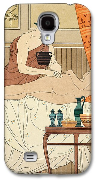Nudes Drawings Galaxy S4 Cases - Application of White Egyptian Perfume to the Hip Galaxy S4 Case by Joseph Kuhn-Regnier