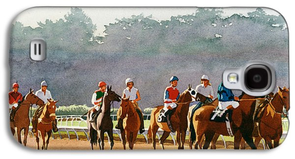 Horse Racing Galaxy S4 Cases - Approaching the Starting Gate Galaxy S4 Case by Mary Helmreich