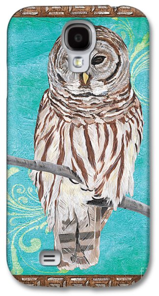 Branches Paintings Galaxy S4 Cases - Aqua Barred Owl Galaxy S4 Case by Debbie DeWitt