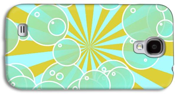 Geometric Digital Art Galaxy S4 Cases - Aqua bubbly art Galaxy S4 Case by Gaspar Avila