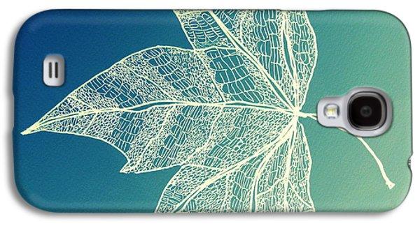 Catherine White Digital Galaxy S4 Cases - Aqua Leaf Study 1 Galaxy S4 Case by Cathy Jacobs