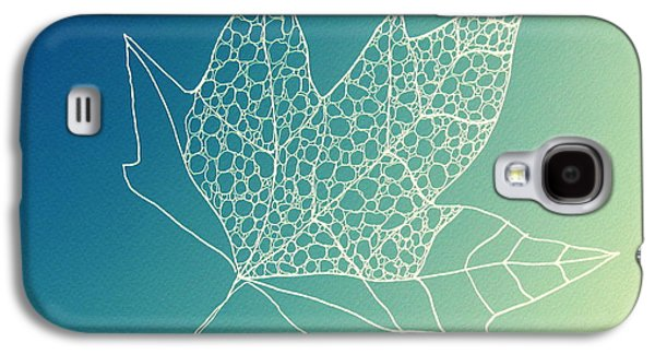 Catherine White Digital Galaxy S4 Cases - Aqua Leaf Study 2 Galaxy S4 Case by Cathy Jacobs