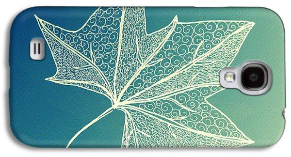Catherine White Digital Galaxy S4 Cases - Aqua Leaf Study 3 Galaxy S4 Case by Cathy Jacobs