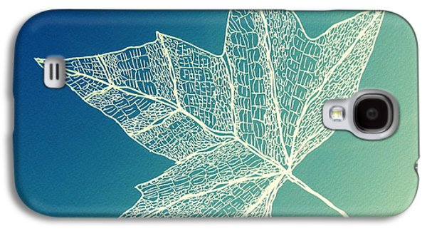 Catherine White Digital Galaxy S4 Cases - Aqua Leaf Study 4 Galaxy S4 Case by Cathy Jacobs